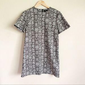 Zara Snake Skin Print Short Sleeve Mini Dress